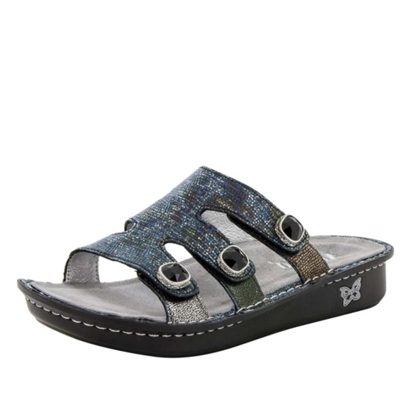02af583d2c25a NWT ALEGRIA Venice Slides Metallic Leather Shoe 